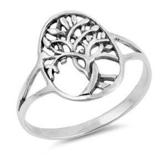 Sterling Silver Tree of Life Ring, Size 6 & 9